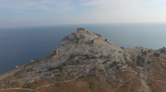 Flight to the ruined tower of Genoa Fortress in Crimea Stock Footage
