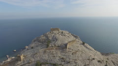 Above the ruined tower of Genoese fortress in Sudak Crimea Stock Footage