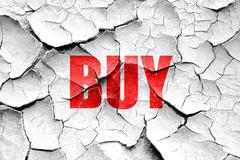 Grunge cracked buy now sign - stock illustration