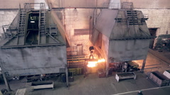 Metal production plant,  steel factory inside Stock Footage