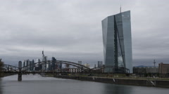 Timelapse shot of EZB (European Central Bank) Frankfurt and River Main - stock footage
