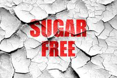 Grunge cracked sugar free sign - stock illustration