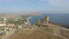 Over the Genoa fortress in Sudak Stock Footage