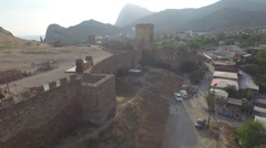 Down to Genoese fortress in Sudak Stock Footage