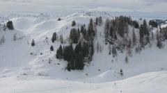 View of slopes and cliffs at Kitzbühel ski resort - stock footage