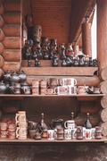 Group of ceramic old handmade traditional pottery at  market Stock Photos