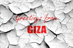 Stock Illustration of Grunge cracked Greetings from giza