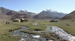 Pamir plateau, nomads with Yurte, Tajikistan (2).mp4 Stock Footage