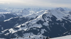 Mountains covered with forests at Kitzbühel ski resort - stock footage