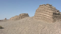 Taklamakan desert, Great wall, southern part, China.mp4 Stock Footage