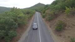Crimean road and flight through the mountain Stock Footage