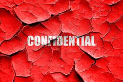 Grunge cracked confidential sign background - stock illustration