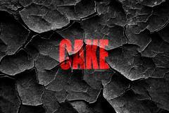 Grunge cracked Delicious cake sign - stock illustration