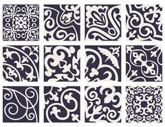 Set with Beautiful ornamental tile background. - stock illustration