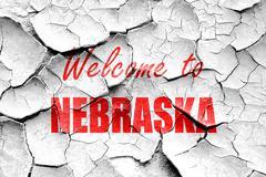 Grunge cracked Welcome to nebraska - stock illustration