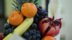 Decorative festive table with fruit Stock Footage