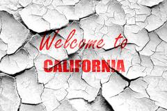 Grunge cracked Welcome to california Stock Illustration