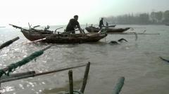 Weishan lake, fishing with cormorants, China (3ex).mp4 Stock Footage