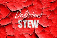Grunge cracked Delicious stew sign - stock illustration