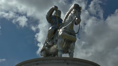 The monument to Genghis Khan in Mongolia on the background moving clouds. Stock Footage