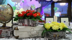 Decorative festive table Stock Footage