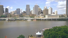 Brisbane Cityscape River From Wheel , Queensland , Australia 4K Stock Footage
