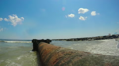 Dredge Pipe On Beach Stock Footage