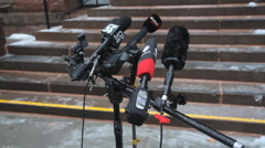 Canadian media microphones at final day of Jian Ghomeshi trial. Stock Footage