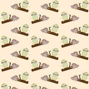 Vector seamless pattern with cute cartoon sloth Stock Photos
