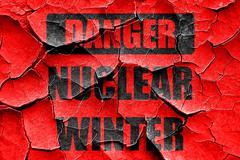 Grunge cracked Nuclear danger background - stock illustration