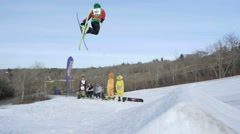 Skier does 720 during big air contest Stock Footage