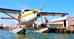 4K Sea Plane Docked on Pier, City of Victoria, BC during Summer Stock Footage