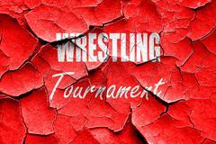 Grunge cracked wrestling sign background - stock illustration