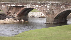 Brougham Castle river bridge close England 4K Stock Footage