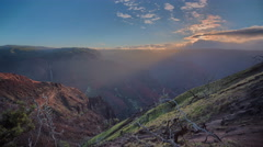 Time Lapse Sunrise at Waimea Canyon State Park , Grand Canyon of the Pacific - stock footage