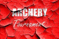 Grunge cracked archery sign background - stock illustration