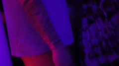 Man with cool tattoo hanging out in the night club. Party. Enjoying life. Relax Stock Footage
