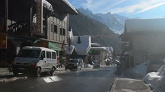 Main street in Argentiere Mont Blanc in Background Stock Footage