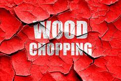 Grunge cracked wood chopping sign background - stock illustration