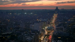 Brussels aerial view busy street at night and basilica of the sacred heart Stock Footage