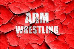 Grunge cracked arm wrestling sign background - stock illustration