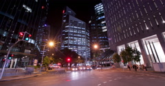 Brisbane cross roads intersection at night Stock Footage