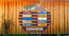 4K Sign for the Hornby Island Ringside Market, Co-Op Summer Open Market Stock Footage