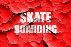 Grunge cracked skate boarding sign background Stock Illustration