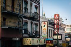 Buildings on Jackson Street, in Chinatown, San Francisco, California. Stock Photos