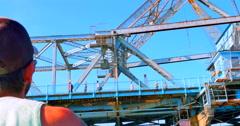 4K Waving at People on Johnson Street Bridge, Victoria Inner Harbour Stock Footage