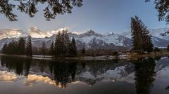 Mont Blanc range winter landscape reflecting in Les Gaillands lake Stock Photos