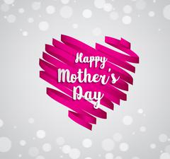 Happy Mothers's Day typographical on ribbon heart Stock Illustration