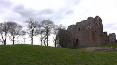 Brougham Castle ruins England pan 4K Stock Footage
