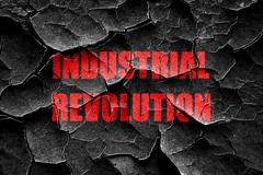 Grunge cracked Industrial revolution background - stock illustration